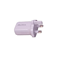3-Pin, 2 in 1 travel charger - White