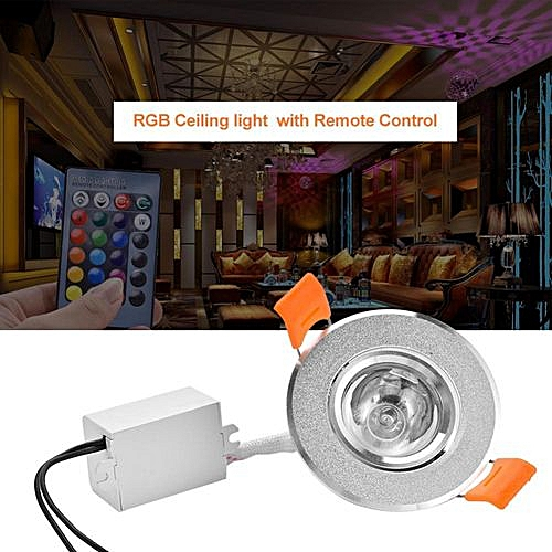 6547078ec9a Generic Recessed Color Changing RGB Panel Lamp 3W LED Ceiling Down Light  With Remote Control