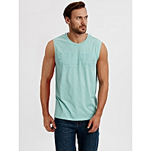 Green Standard Male Sleeveless Jersey Tank Top
