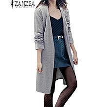 ZANZEA Fashion Women Long Sleeve Casual Loose Cardigan Long Jacket Trench Coat Parka Top (Grey)