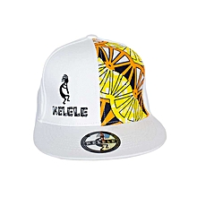 White And Orange Snapback Hat With Kelele Color On Panel
