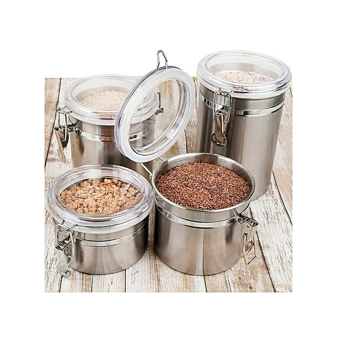 Buy New 4 Piece Stainless Steel Canister Kitchen Storage Set