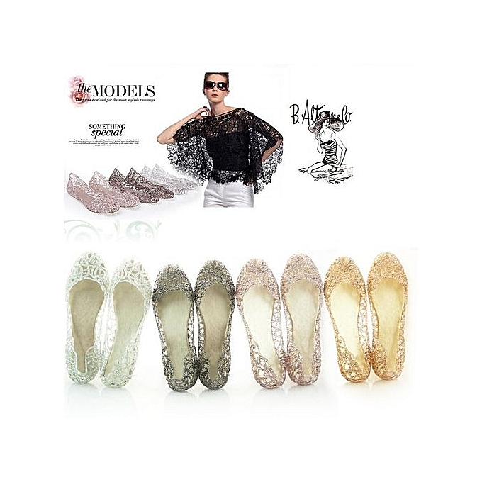 c7eee25fc39a64 Generic Colour Pink Women Crystal Plastic Jelly Hollowed Flat ...