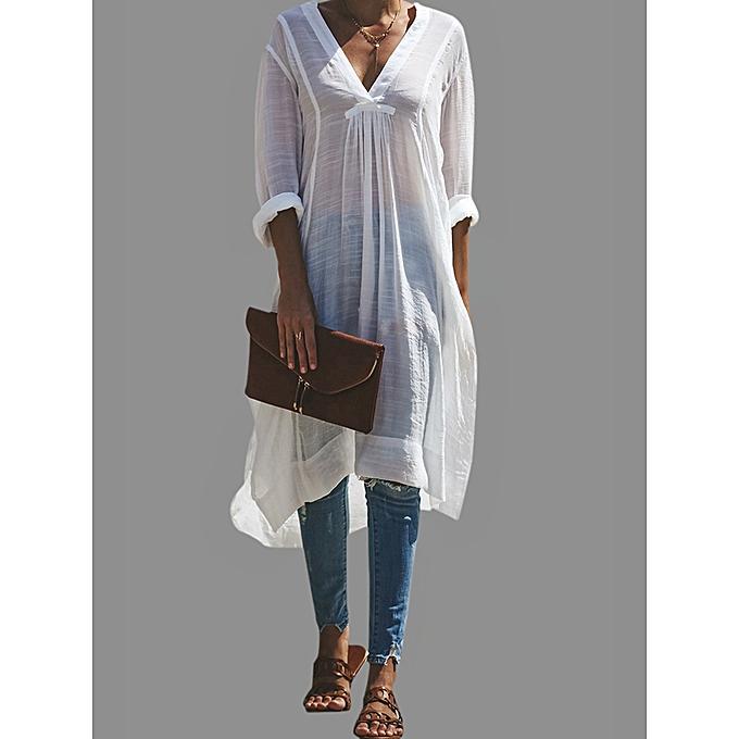 c3271b1dbbf Fashion Plus Size M-6XL V-neck Long Sleeve Side Split Shirt Dress ...