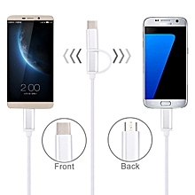 1m 2A Woven Style Metal Head 2 in 1 Type C and Micro USB to USB Data / Charger Cable for Samsung Galaxy S8 and S8 + / LG G6 / Huawei P10 and P10 Plus / OnePlus 5 / Xiaomi Mi6 and Max 2 /and other Smar