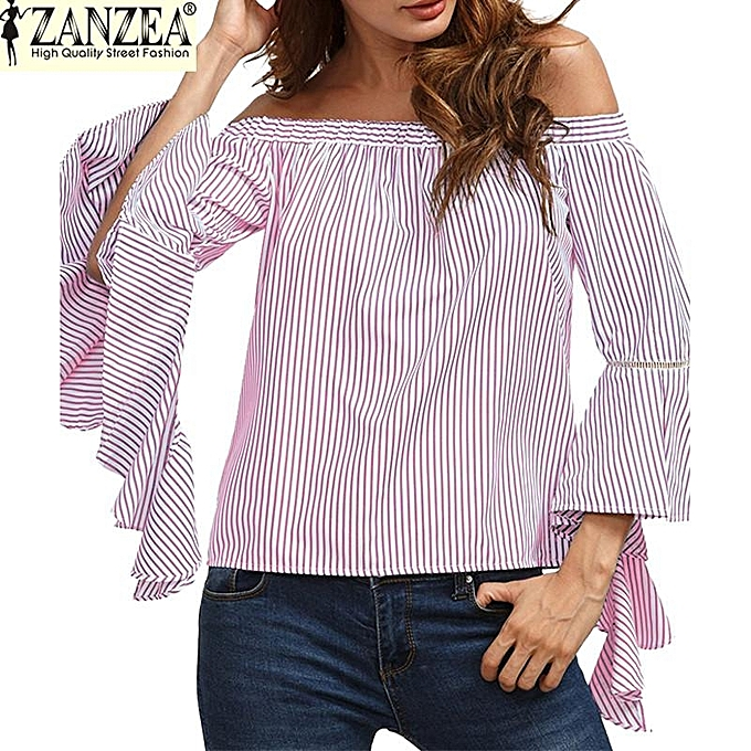 170af3ed6c5 Slash Neck Off Shoulder Flare Sleeve Flouncing Stripe Shirt Womens Fashion Casual  Party Beach Summer Tops