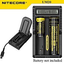 Nitecore -UM20 LCD USB Powered Intelligent Charger For Li-ion IMR 18650 Battery Black
