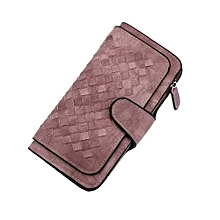 Knitting Woven Ladies Leather Wallets Purses -Sandy Brown