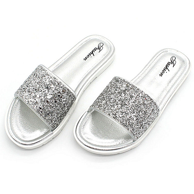 611cc14d5 Summer Women s Slippers Bling Open Toe Sandals Beach Slippers Sequins Casual