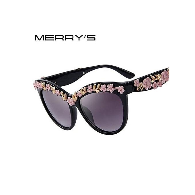 Luxury Rose Cat Eye Sunglasses Fashion Women Brand Designer Sun Glasses  Ladies Metal Flower Vintage Glasses