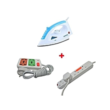 Iron Box with 2 Free Red Lable 4-way And Small Socket Extension Cable - 1200W - White & Blue