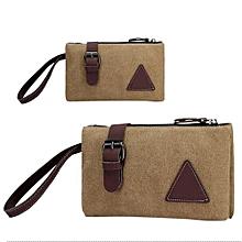 Zipper Canvas Clutch Bag With Retro Belt Decoration Wrist Handbags For Men Color:Khaki