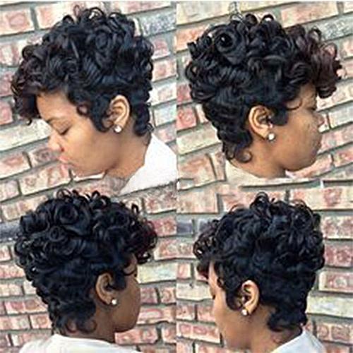 Buy Zlime Women Short Black Brown Frontcurly Hairstyle Human Hair