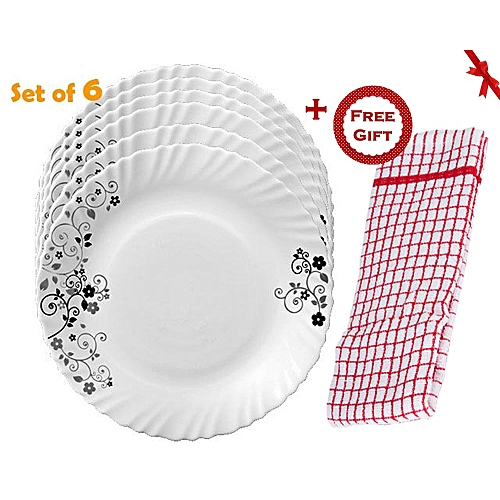 6Pcs Diva Classique Dinner Plates - Mystrio Black (+ Free Gift Hand Towel).