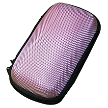 Portable Mini Round Hard Storage Case Bag for Earphone Headphone SD TF Cards -Pink