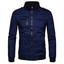 Epaulet Design Pockets Zip Up Cargo Jacket - CADETBLUE