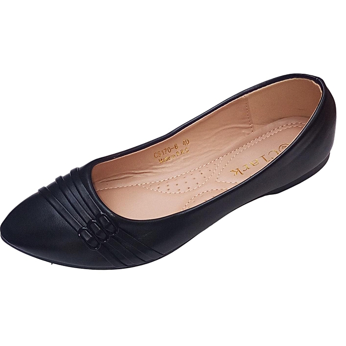 c774e19d2eb Generic Women PU Leather Flat Shoes -Black   Best Price