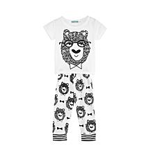 Children 2pcs Leisure T-Shirt Trousers - White