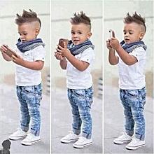 2Yr Old Designer 3pcs T-Shirt + Jeans + Scarf Trendy Boys Clothing Set