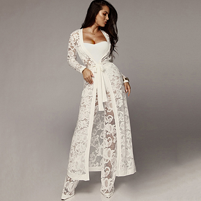 eb7a353113 Sexy Women Lace Three-piece Set Strapless Tank Top Sheer Wide Leg Pants  Cardigan Cover