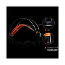A6 Gaming Headphone With Mic USB Professional Over Ear Stereo Gaming Headset With LED Noise Cancellation & Wonderful Sound Effect Music Earphones Black With Orange For Desktop Notebook Laptop