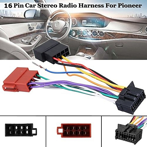Car Stereo Radio Player ISO Wiring Harness Connector 16-Pin For Pioneer on