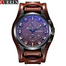 Watches, 8225 Men's Fashion Sport Quartz Watch Luxury Quartz Leather Strap Clock - Brown