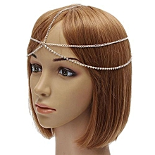 Charm Women Stylish Metal Rhinestone Head Chain HeadPiece Hair Band Headwear Silver