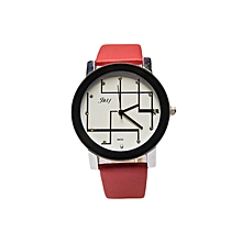 Analog Ladies Men Pu Leather Wrist Watch - Red