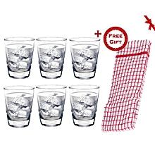 Tiara 13Oz Tumbler Set of 6 Pcs Drinking Glasses (+ Free Gift Hand Towel).