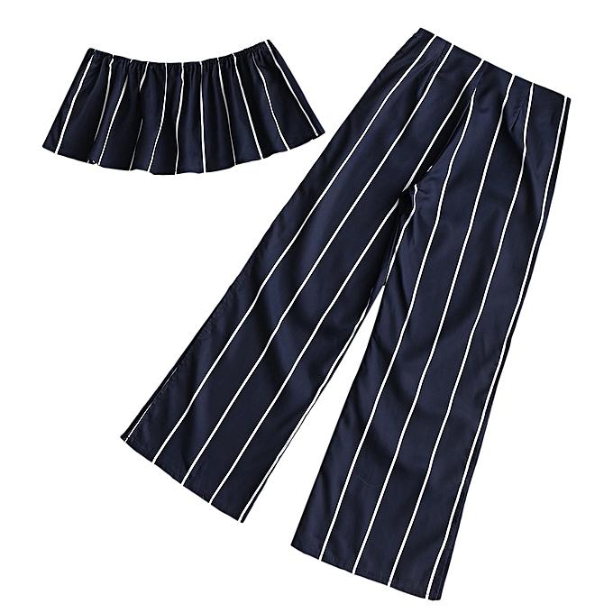 33c65b229a ZAFUL Striped Strapless Top with Slit Pants Set