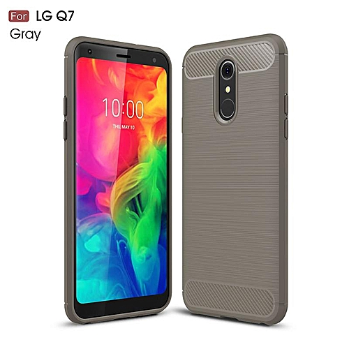 purchase cheap cbc62 e6155 For LG Q7 Case Phone Case Shockproof Carbon Fiber Brushed TPU Silicone Back  Cover Funda For LG Q7 Cover 5.5inch (Grey)