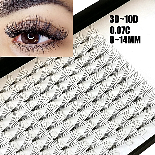 0e571d4f3e5 Generic 12 Lines 3D~10D Russian Premade Volume Fans Eyelashes Extension C  Curl 0.07 Thickness Heat Bonded Eyelashes Makeup Tools(C 0.07mm)