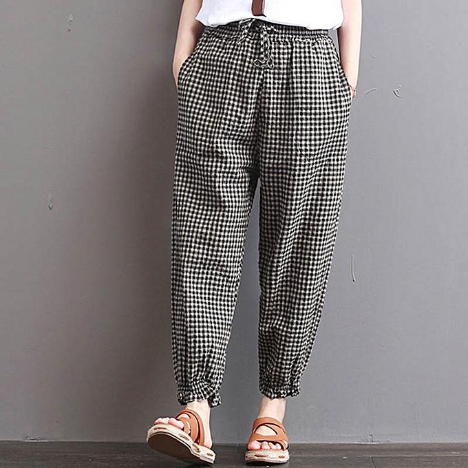 073af1ae60bd Women Check High Waist Lace Up Long Harem Pencil Pants Jeggings ...