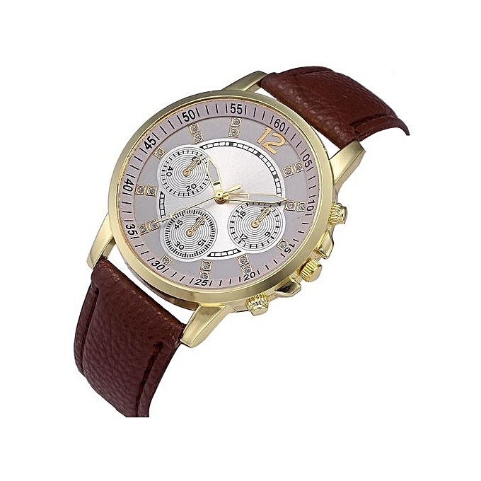 1f10cd5e3d8b0 Fashion Watch Men Fashion Color Strap Digital Dial Leather Band Quartz  Analog Wrist Watches-Brown