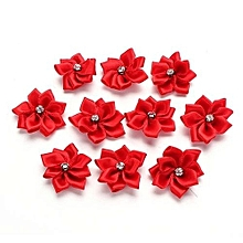 10/40 PCS Satin Ribbon Flower Appliques Rhinestone Craft DIY Wedding Trims Chic