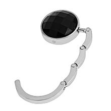 Portable Foldable Folding Crystal Alloy Purse Handbag Hook Hanger Bag Holder-Black