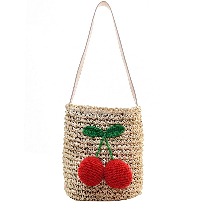 d1100852c4e Fashionable Cute Cherry Weave Bag Vacationing Beach Summer Paper Strings  Shoulder Bags Beautiful and Elegant Well