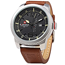 NF 9063M Male Quartz Watch Black Case Calendar Display Dial Leather Band Wristwatch-BLACK