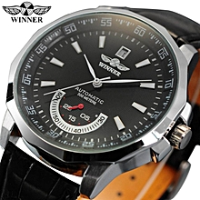 Winner PMW011 Mechanical Black HIgh Quality Leather Calendar Automatic Watch Clock Men Sports Watches Male Relogio Masculino Esportivo BDZ