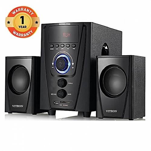 V008 2.1CH Multimedia Speaker System - Black with FM Radio, Built-in amplifier,  SD Card Slot and USB device playback