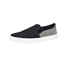 Black & Grey Men's Fabric Sneakers