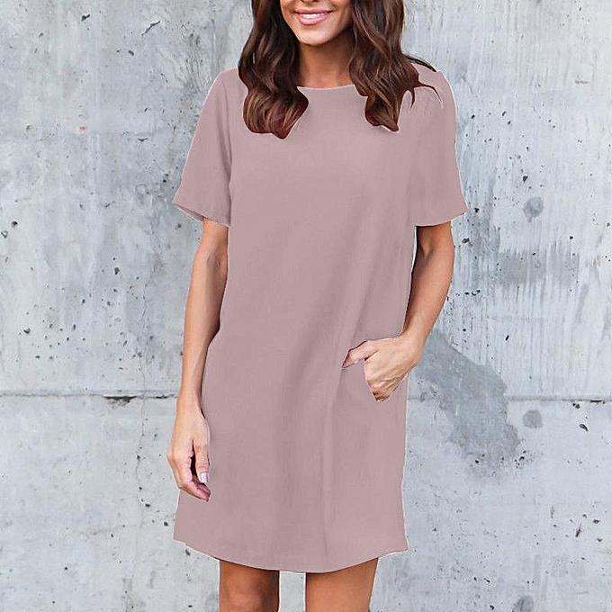 ee79618ce10 ZANZEA Women Summer Short Sleeve T-Shirt Dress Ladies Party Mini Dress Plus  Size