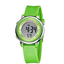 2016 OHSEN Brand Digital LCD Kids Girls Fashion Wristwatch Cute Pink Rubber Strap 30M Waterproof Child Watches Alarm Hand Clocks(Green)