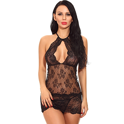 2197defb1816 Generic Sexy Women Babydoll Lingerie Sheer Lace Halter Neck Mini Chemise  Dress Hot Nightwear Teddy Dress With G-String