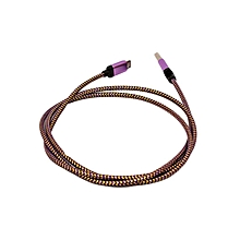 Universal Micro Nylon USB 2.0  Double sided  Data Cable - 1M - Purple