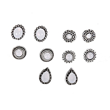 shioakp 1Set/5Pieces Jewelry Vintage Alloy Silver Bohemia Color Shape Stud Earrings