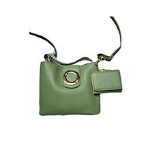 2 In 1 Ladies Leather Handbag - Green