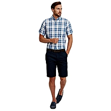 Checked Blue Regular Short Sleeve Male Shirt