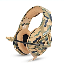 ONIKUMA K1 3.5mm Gaming Headsets with Mic Stereo Sound Noise Reduction Music Headphones for PC New Xbox Laptop DS PSP Camouflage Yellow